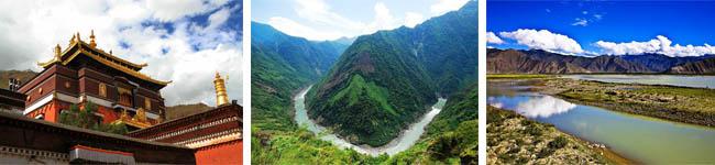 扎什伦布寺、雅鲁藏布江、拉萨河