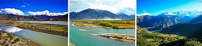 拉萨河、尼洋河、米拉山口